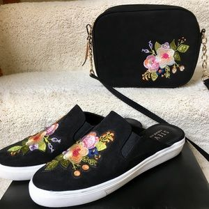Suede embroidered mules & matching bag